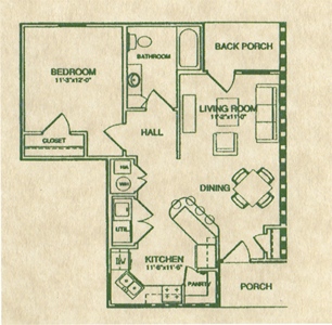 One Bedroom / One Bath - 754 Sq. Ft.*